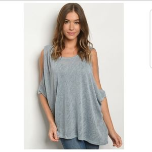 Tops - Blue cold shoulder top